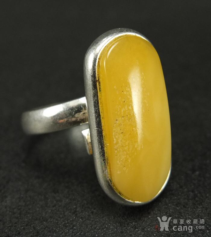 原矿925银镶嵌 波罗的海鸡油黄蜜蜡戒指图1