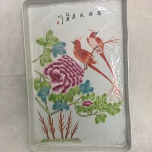 金牌 花鸟粉彩瓷盘