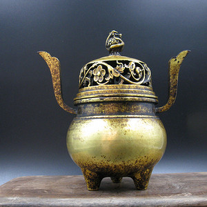 欧洲回流 紫铜鎏金 龙纹薰炉