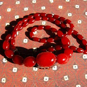 欧洲 老樱桃红古董蜜蜡项链 c72
