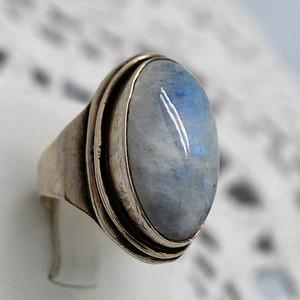 天然 欧珀银戒指c67