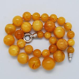 奢华 天然 蜜蜡圆珠项链 b150