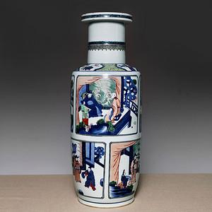 藏海淘 清早期款五彩人物爆竹瓶 C104