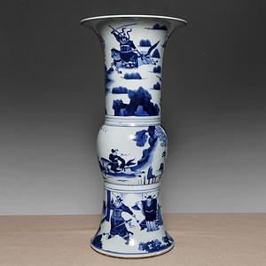 藏海淘 旧人物青花花觚瓶 C112