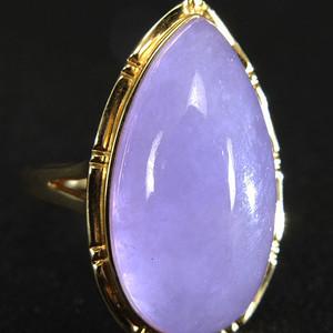 美国回流 14K金镶嵌 天然紫色翡翠 戒指
