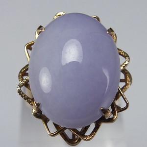 美国回流14K金天然A紫色翡翠 戒指