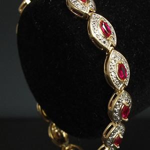 美国回流银流金镶嵌天然红宝石 手链