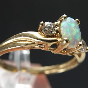 10K金 天然欧泊宝石 戒指
