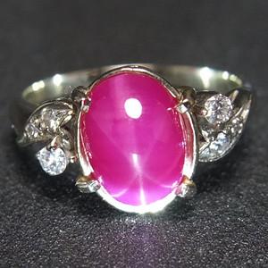 14K金 天然 红宝石 星光纹 戒指 一枚