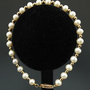 美国回流 精品 14K金天然珍珠手链