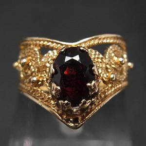 14K金 花丝镶嵌 天然石榴石 戒指