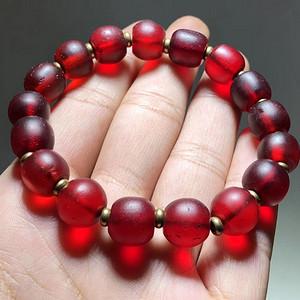 藏传 清代 红琉璃 手串 佛教七宝 表面风化纹清晰 包浆老厚 皮壳