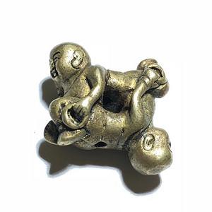 清代 四喜童子 烟袋扣 铜质 手工錾刻 双头 半换角度看 是4个童
