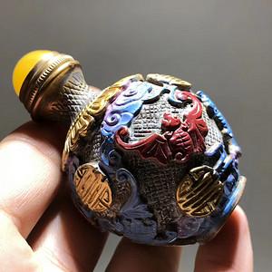 晚清 铜制 五福临门 鼻烟壶 手工錾刻 填色 保存完好 品相非常棒 工