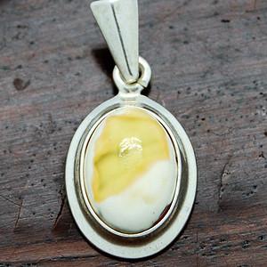 天然 白密鸡油黄 银吊坠挂件 c40 3 1