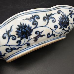 柳叶型青花笔洗