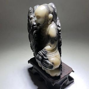 回流 清代 寿山石 珍贵世元洞石 罗汉摆件 手工雕刻 簪花工艺漂
