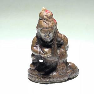 明晚期 藏区 紫铜 黄财神 佛像 手工錾刻打造 包浆老厚 工艺自然 有