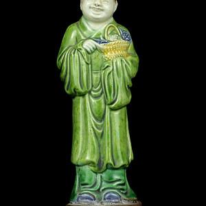 10清晚素三彩八仙人物纹瓷像