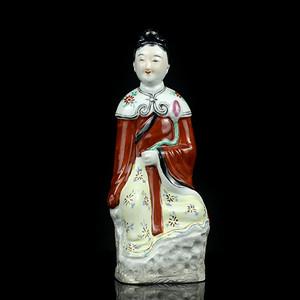 12民国粉彩仕女人物瓷塑