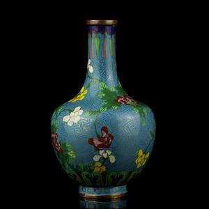 14清晚铜胎掐丝珐琅花卉纹瓶
