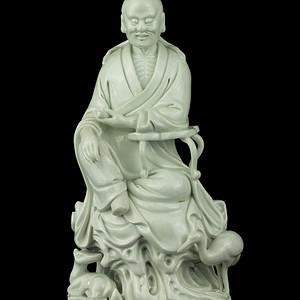 33清晚德化窑白釉鹤鹿仙人瓷像