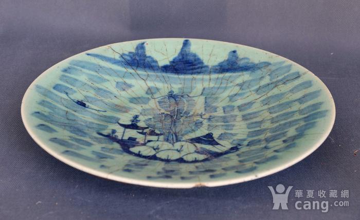 青花山水纹盘图1