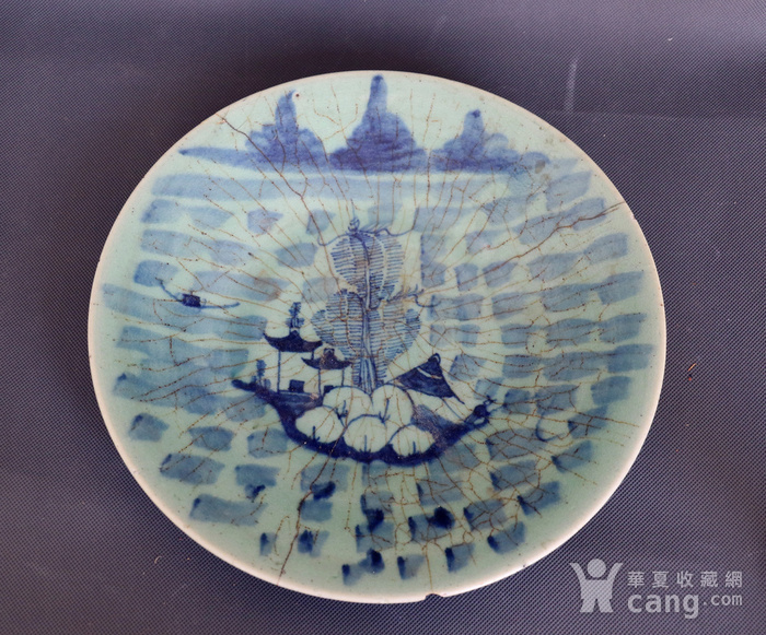 青花山水纹盘图3