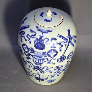 清中暗八仙冬瓜罐