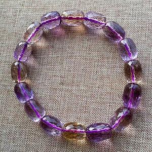 天然紫黄晶刻面手链假一赔万