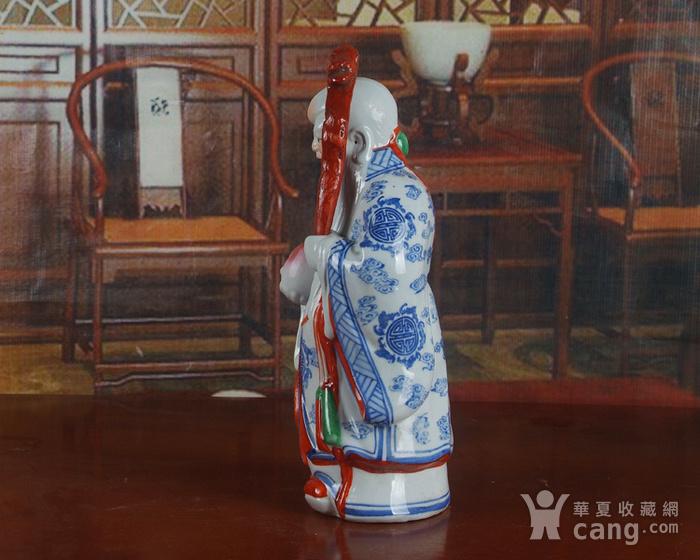 景德镇文革老厂瓷器 精品收藏 雕塑瓷  青花粉彩寿星图3