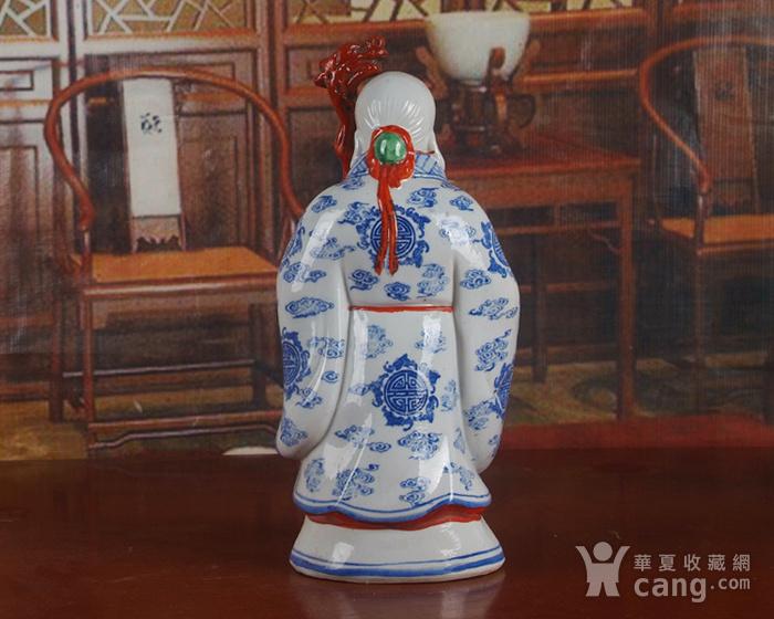 景德镇文革老厂瓷器 精品收藏 雕塑瓷  青花粉彩寿星图4