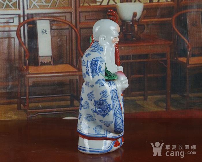 景德镇文革老厂瓷器 精品收藏 雕塑瓷  青花粉彩寿星图5