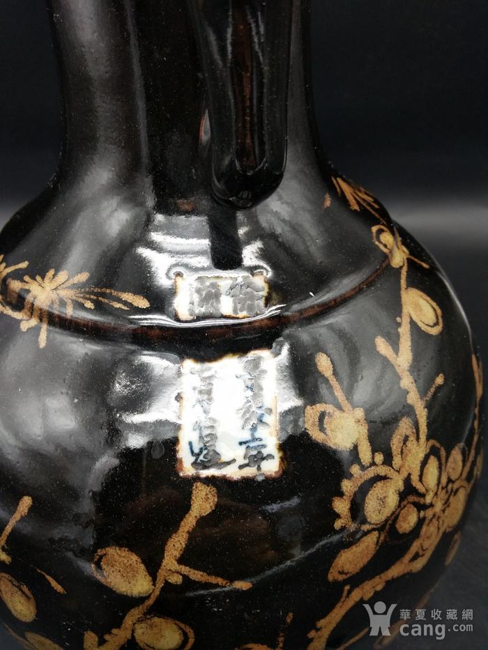 乌金釉象耳瓶图1