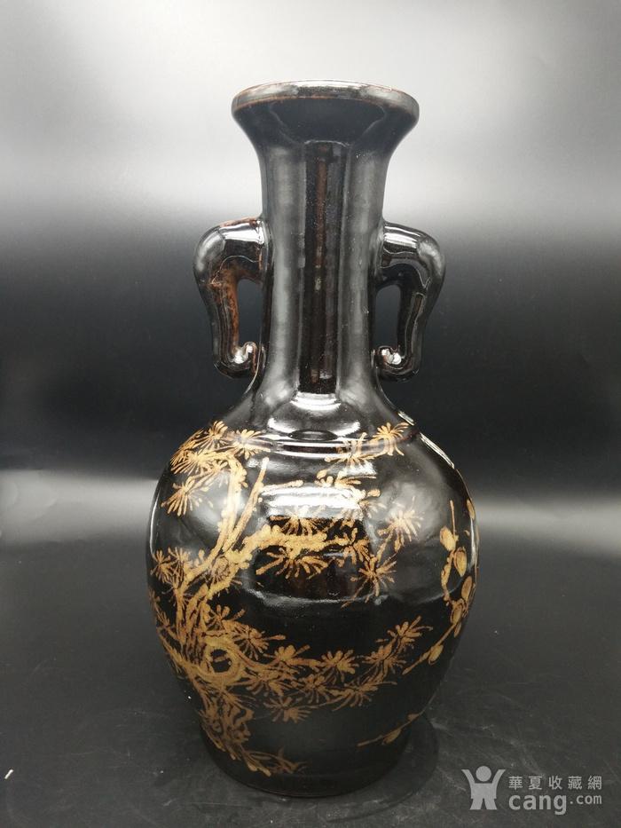 乌金釉象耳瓶图3