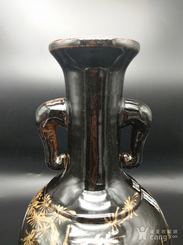 乌金釉象耳瓶图4