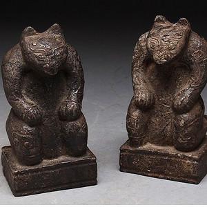 高古石雕对熊印章