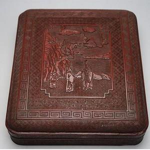 海外回流清中早期雕漆文房四宝盒
