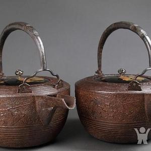 压轴,日本明治期,名堂口,铁壶一对儿