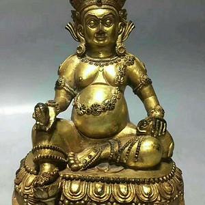 尼泊尔回流纯铜鎏金黄财神造像一尊