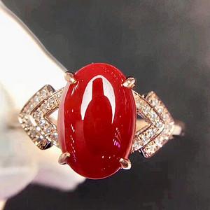 天然红珊瑚戒指无加色假一赔万