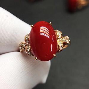 天然红珊瑚戒指无优化 假一赔万