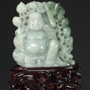 天然冰种翡翠弥勒佛塑像摆件