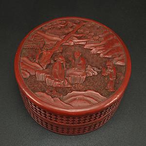 清代剔红漆器 人物故事 园盒
