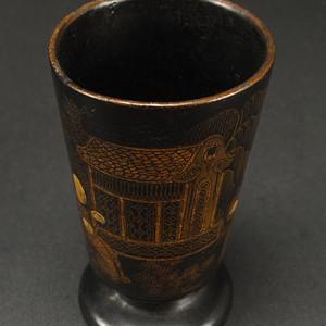 清代 描金粉漆器 压手杯