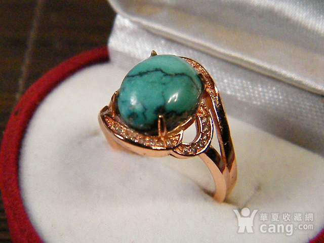 天然原矿绿松石925彩银戒指图3