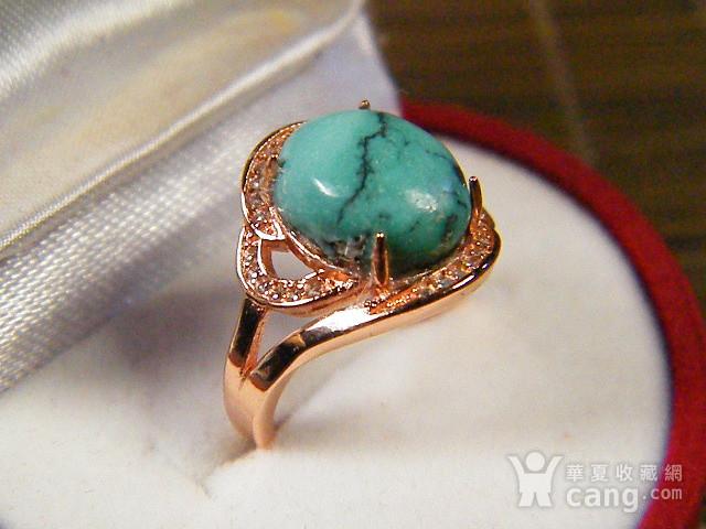 天然原矿绿松石925彩银戒指图2