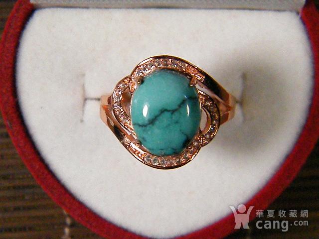 天然原矿绿松石925彩银戒指图1