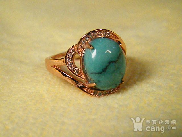 天然原矿绿松石925彩银戒指图8