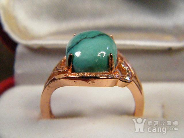 天然原矿绿松石925彩银戒指图7